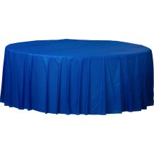 Royal Blue Round Plastic Table Cover - Party Supplies Emporium
