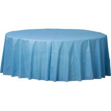 Pastel Blue Round Plastic Table Cover - Party Supplies Emporium