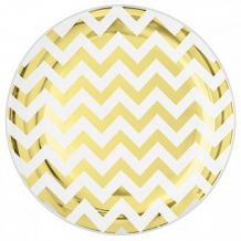Premium Chevron Gold 19cm Round Plate – Party Supplies Emporium