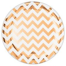 Premium 26cm Chevron Rose Gold Round Plate – Party Supplies Emporium
