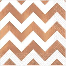 Premium Chevron Rose Gold Lunch Napkins – Party Supplies Emporium