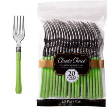Premium Disposable Kiwi Lime & Silver Look Forks – Party Supplies Emporium