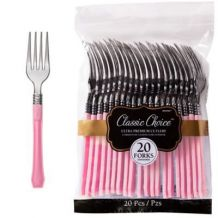 Premium Disposable New Pink & Silver Look Forks – Party Supplies Emporium