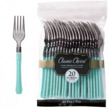 Premium Disposable Robin's Egg & Silver Look Forks – Party Supplies Emporium