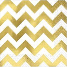 Premium Chevron Gold Beverage Napkins – Party Supplies Emporium
