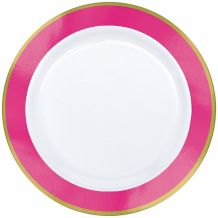 Premium 19cm White Plate With Bright Pink Border – Party Supplies Emporium