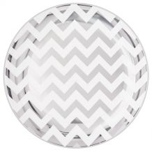 Premium Chevron Silver 19cm Round Plate – Party Supplies Emporium