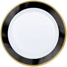 Premium 26cm White Plate With Black Border – Party Supplies Emporium