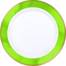 Premium 26cm White Plate With Kiwi Green Border – Party Supplies Emporium