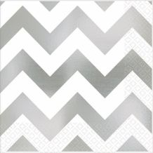Premium Chevron Silver Beverage Napkins – Party Supplies Emporium