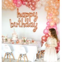Rose Gold Happy Birthday Balloon Bunting - Party Supplies Emporium