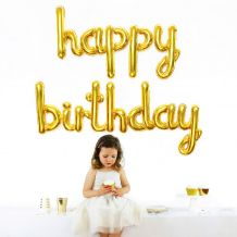 Gold Happy Birthday Balloon Bunting - Party Supplies Emporium