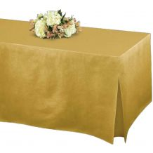 Gold Tablefitter Flannel Backed Vinyl Tablecover - Party Supplies Emporium