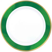 Premium 19cm White Plate With Festive Green Border – Party Supplies Emporium
