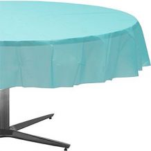 Robin's Egg Blue Round Plastic Table Cover - Party Supplies Emporium