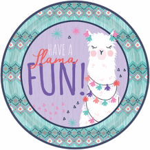 "Llama Fun 9""/22cm Round Plate - Party Supplies Emporium"