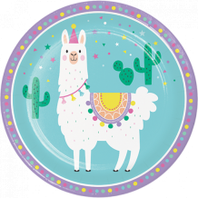 Llama Party Dinner Plates Paper 22cm - Party Supplies Emporium