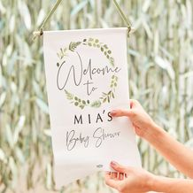 Botanical Baby Baby Shower Customisable Welcome Sign - Party Supplies Emporium