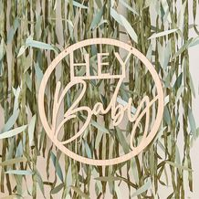 Botanical Baby Wooden Hey Baby Hoop Wreath - Party Supplies Emporium