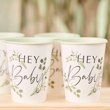 Botanical Baby Hey Baby Cups - Party Supplies Emporium