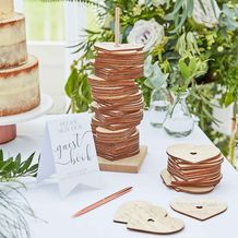 Botanical Wedding Guest Book Wooden Stacking Heart - Party Supplies Emporium