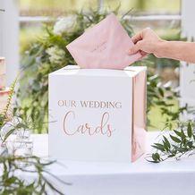 Botanical Wedding Card Box Rose Gold Text - Party Supplies Emporium