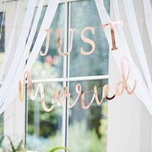 Botanical Wedding Bunting Just Married Rose Gold - Party Supplies Emporium