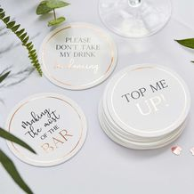 Botanical Wedding Coasters - Glass Toppers Dancing & Top Up - Party Supplies Emporium