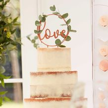 Botanical Wedding Cake Topper Metal Hoop With Wooden Script Writing - Party Supplies Emporium