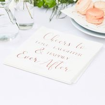 Botanical Wedding Foiled Cheers To Love, Laughter & Happily Ever After Napkins - Party Supplies Emporium