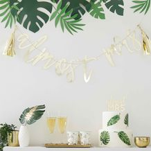 Botanical Hen Party Gold 'Almost Mrs' Scripted Bunting - Party Supplies Emporium