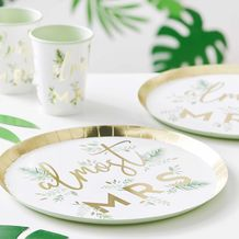 Botanical Hen Party Gold Foiled Paper 'Almost Mrs' Plates - Party Supplies Emporium