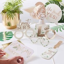 Botanical Hen Party Gold Foiled Photobooth Props - Party Supplies Emporium