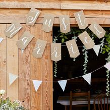 Rustic Country Wedding Bunting Just Married Hessian - Party Supplies Emporium