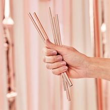 Mix It Up Rose Gold Stainless Steel Straws - Party Supplies Emporium