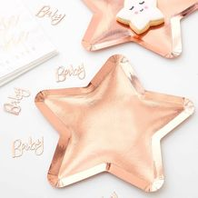 Twinkle Twinkle Paper Plates Star Shaped Rose Gold - Party Supplies Emporium