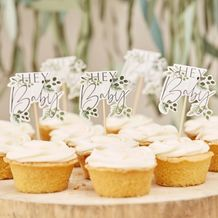 Botanical Baby Hey Baby Botanical Cupcake Toppers - Party Supplies Emporium