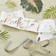 Botanical Hen Party Gold Foiled Bride To Be Sash - Party Supplies Emporium