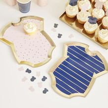 Gold Foiled Pink And Navy Baby Grow Gender Reveal Party Plates - Party Supplies Emporium