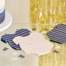 Gold Foiled Pink And Navy Baby Grow Gender Reveal Party Napkins - Party Supplies Emporium