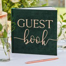 Botanical Wedding Green Velvet Bronze Foiled Guest Book - Party Supplies Emporium