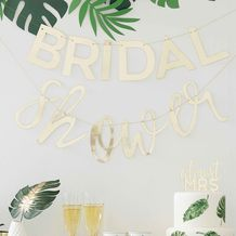 Botanical Hen Party Gold 'Bridal Shower' Bunting - Party Supplies Emporium