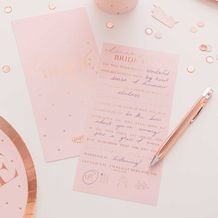 Hen Party Advice Cards Rose Gold Foiled - Party Supplies Emporium