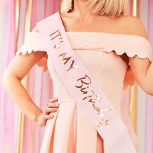 Mix It Up Rose Gold Foiled It's My Birthday Pink Ombre Sash - Party Supplies Emporium
