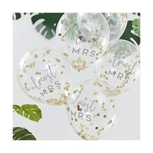 Botanical Hen Party Gold Confetti 30cm Latex Balloons almost MRS - Party Supplies Emporium