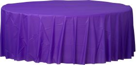 New Purple Round Plastic Table Cover - Party Supplies Emporium