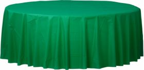Festive Green Round Plastic Table Cover - Party Supplies Emporium
