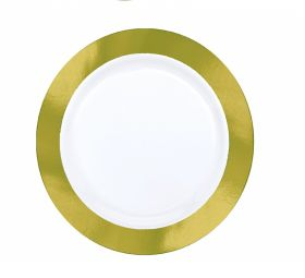 Premium 26cm White Plate With Gold Border – Party Supplies Emporium