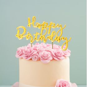 Happy Birthday Gold Plated Cake Topper - Party Supplies Emporium
