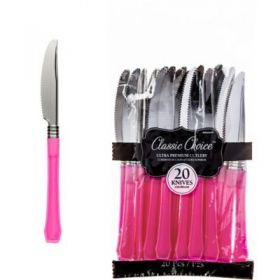 Premium Disposable Bright Pink & Silver Look Knives – Party Supplies Emporium